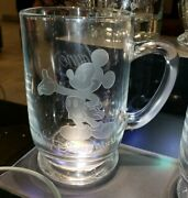 New Disney Parks Arribas Mickey Mouse Etched Glass Coffee Mug Cup Personalized