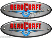 Two Aero Craft Boat Oval Stickers. Vintage 10x3.5 Long Each