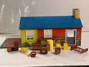 Vintage Wolverine Tin Litho Ranch Doll House 8289 W/furniture From 1950's
