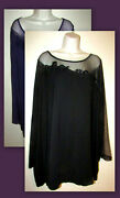 Womans Plus 4x Illusion Lace And Embroidery Top New In Package