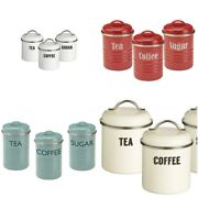 Typhoon Vintage Retro Kitchen Coffee Tea Sugar Canisters Can Tin Jars Container