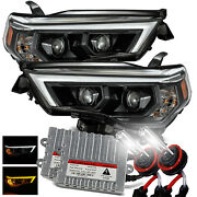 6000k Hid/for 14-20 Toyota 4runner Led Tube Polished Black Projector Headlights