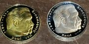 Lot Of 2 Deep Cameo 1937 2 Mark Silver And Gold Gilded Germany 3rd Reich Coins