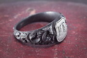 Stunning And Rare Genuine 1800and039s Antique Berlin Iron Signet Ring And039jyand039 Initials