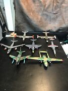 7 Small Vintage Usa Plastic Model War Planes/jets. Very Cool