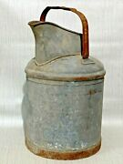 Vintage 5 Gallon Milk Oil Pour Metal Can With Handle