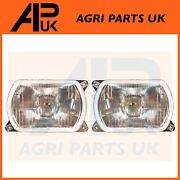 Pair Of Headlight Headlamp Lights For Fiat Farmtrac Td Ford New Holland Tractor