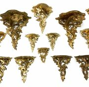 A Collection Of 16 Vintage Italian Rococo Acanthus Leaf Wall Shelves Brackets