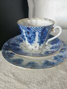 Vintage Russian Imperial Porcelain Tea Cupsaucer Plate Cobalt And Gold Accents