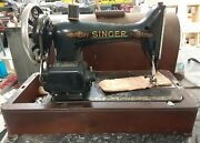 Antique Singer Sewing Machine In Bentwood Case Electric With Key Bobbins Cord