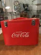 Antique Stainless Coca Cola Pilots Carry On Cooler With Opener Carry Handle