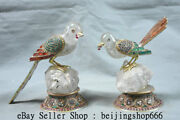 5.6 Tibet Natural Crystal Silver Wire Inlay Gem Hand Carved Birds Statue Pair