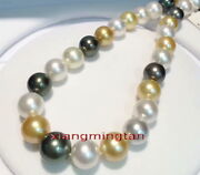 Aaaaa 1813-14mm Real South Sea White Gold Black Multicolor Pearl Necklace 14k