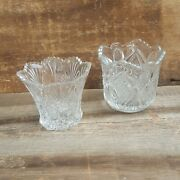 Pair Of Beautiful Cut Glass Bouquet Vases, Clear Glass Vases,crystal Glass Vases