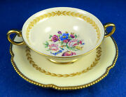 Castleton China And039bellwoodand039 Pattern 12 Cream Soup And Saucer Set Excellent