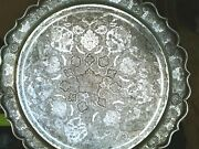 Pershian Art Exhibition X Large Antique Solid Silver Round Tray