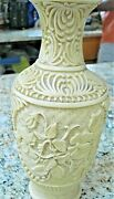 Rare Vintage Chinese Carved Floral And Scrolled White Cinnabar Vase Heavy