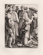Biblical Lucas Van Leyden 1800s Engraving Abraham And The Three Angels Framed Coa