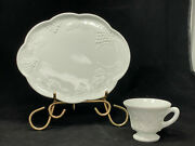 Indiana Glass Co Milk Glass 7-lunch Plates/cups. Colony Harvest/grapevine Design