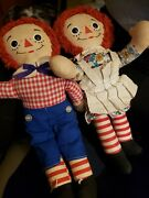 Rare Vintage Knickerbocker Raggedy Ann And Andy Cloth Dollsandnbsp12 Inch Original