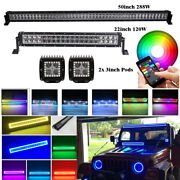 50 Led Light Bar + 22 + 3 Pods W/ Bluetooth Rgb Halo Multi Color Fit For Jeep