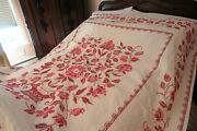 One Beautiful Vintage Hand Made Family Quilt/coverlet Cross-stitched - Estate