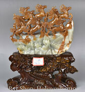 15 Chinese Natural 100 Xiu Jade Jadeite Success 8 Horse On Great Wall Statue