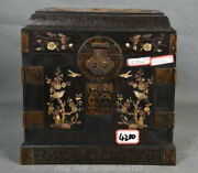 10 Old Chinese Redwood Inlay Shell Carving Flower Bird Cupboard Drawer Boxs