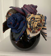 Vintage Curated Mens Ties Floral Arrangement In Vase Fatherandrsquos Day Birthday Gift