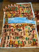 Huge Lot Of Cowboys And Indians Horses Teepees Mixed Brands Play Mat And Mountains