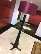 Antique Style Solid Mahogany Wood And Brass Floor Lamp, Royal Burgundy