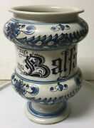 Antique Early Hand Painted Faience Apothecary Drugstore Medicine Jar Balfam