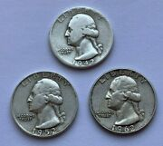Lot Of 3 19421952 D And 1962 D Washington Quarter Silver Coins