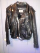 Motorcycle Leather Jacket Fmc Size 44 Black Zip Up Belted Vintage Thinsulate