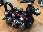 Vintage West Pac Dog And Puppies Salt, Pepper, Multi-spice Shakers And Caddy, Japan