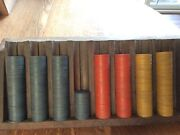 Vintage 369 Clay Poker Chips 3 Colors Includes Home-made Rack Lot 1