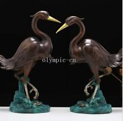 Pair 18and039and039 Brass Silver Gild Carved Home Decorate Auspicious Animal Bird Crane
