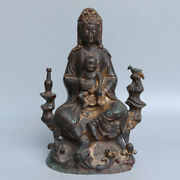 Chinese Exquisite Handmade Guanyin Child Copper Statue