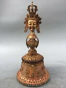 12and039and039 Tibet Bronze Gold Inlay Turquoise Gem Carved Buddha Head Crystal Vajra Bell