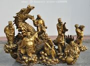18 Chinese Fengshui Brass Taoism 8 Gods Eight Immortals On Dragon Lucky Statue