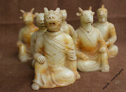 18cm Collect Chinese White Jade Hand-carved 12 Zodiac Dragon Horse Statue Pair