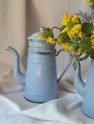 Vintage French Enamelware Coffee Pot, Lid And Grain Container