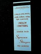 Only Year 1974 Syracuse Ny Stingers Nll Pro Lacrosse Schedule Matchcover