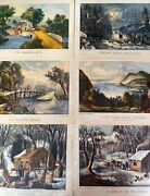 Original Currier And Ives Prints 12x9 Lot Of 6 Mint