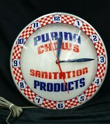 Vintage All Original Purina Chows Sanitation Products Double Bubble Wall Clock