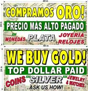 We Buy Gold Silver Jewelry Yellow Text 2' X 4' Banners English And Spanish
