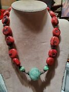 Sterling Silver Red Coral And Carved Jade Fish Necklace