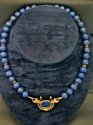 Beautiful 2ndhand Vintage 14 Carat Yellow Gold And Lapis Lazuli Beaded Necklace