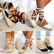 Womens Espadrilles Wedges Tie Up Sandals Wraparound Lace Knit Closed Toe Mid Sz