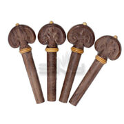 Hand-carved Dark Rosewood 4/4 Violin Pegs/yellow Ring/tip 5 Pcs
